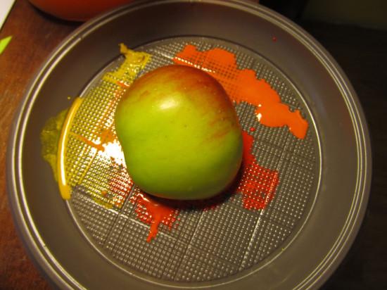 как сделать отпечаток яблоком