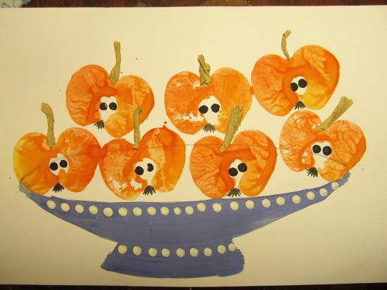 детская поделка тарелка с яблоками
