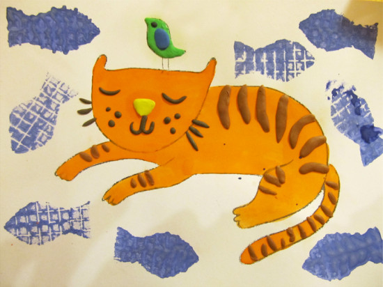 детская поделка рыжий кот