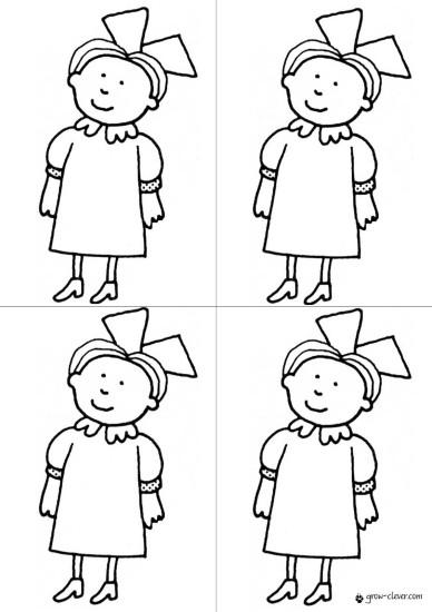 раскраска девочка в платье