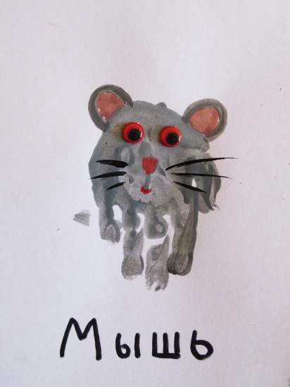 рисование ладошками, мышка ладошками