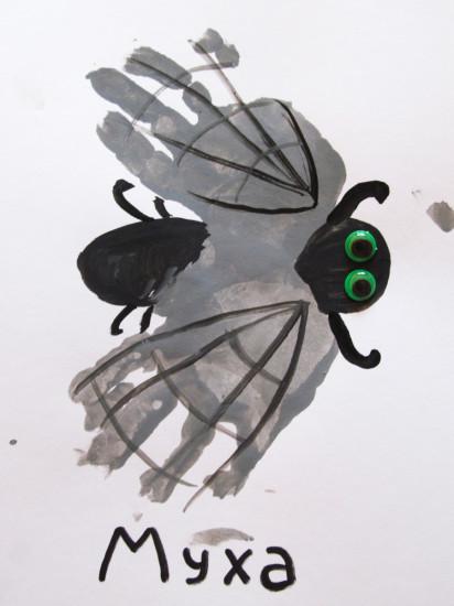 рисование ладошками, муха ладошками