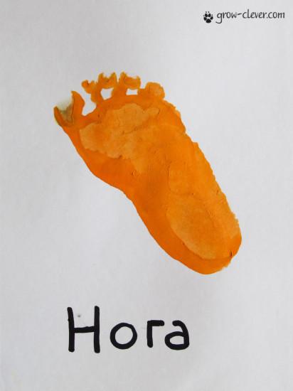 отпечаток детской стопы, рисование ножками