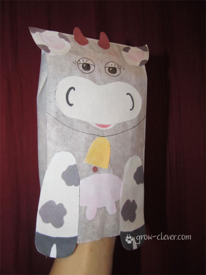 детская поделка корова, аппликация