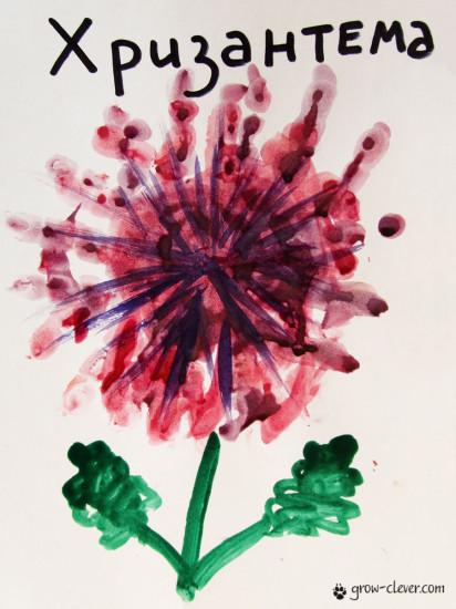 рисование ладошками, хризантема ладошками