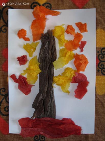 Детская поделка аппликация дерево