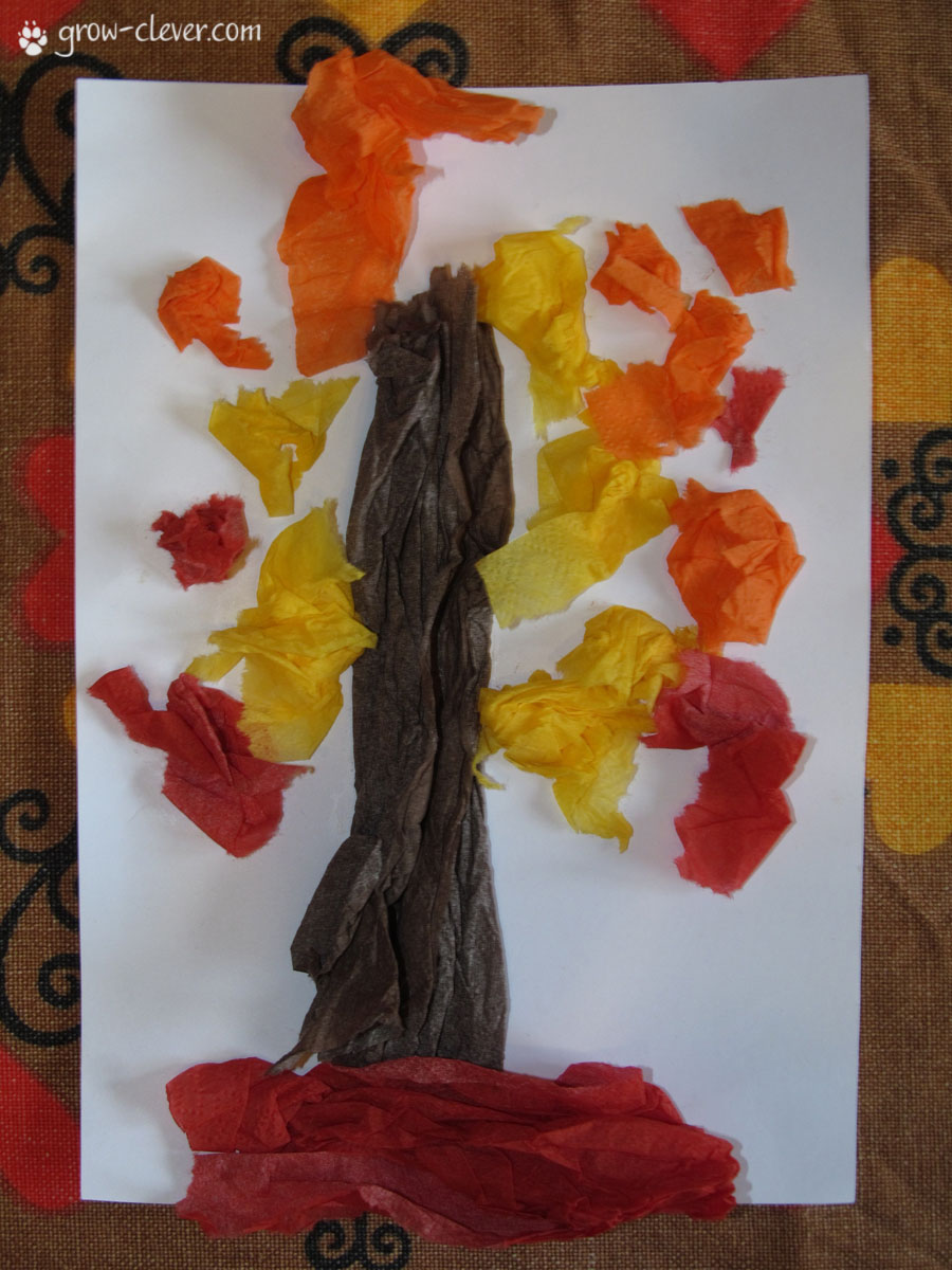 Как сделать из цветной бумаги дуб