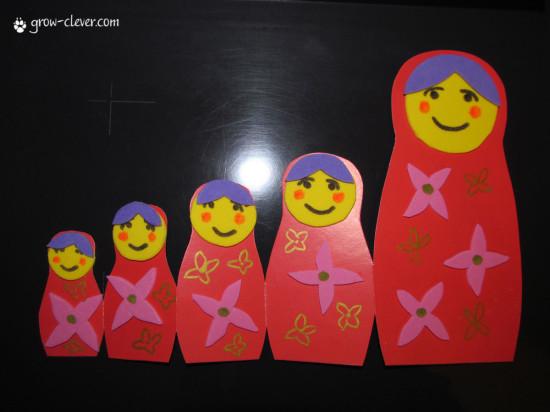 Детская поделка открытка матрешка из картона, шаблон скачать