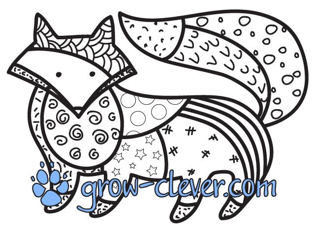 Скачать бесплатно развивающую раскраску лиса, лисица, лис