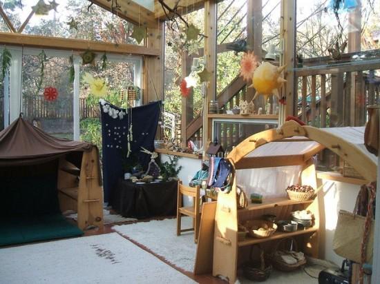 Монтессори пространство для игр и развития, детская кухня, деревянные домики, сушилка для белья