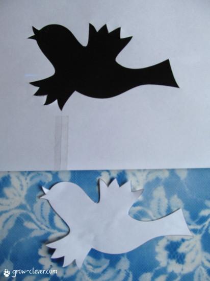 вырезаем трафарет из бумаги птица