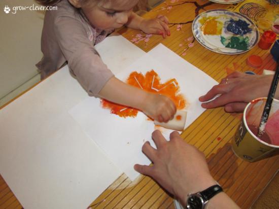 трафарет из бумаги: солнце, рисование с ребёнком