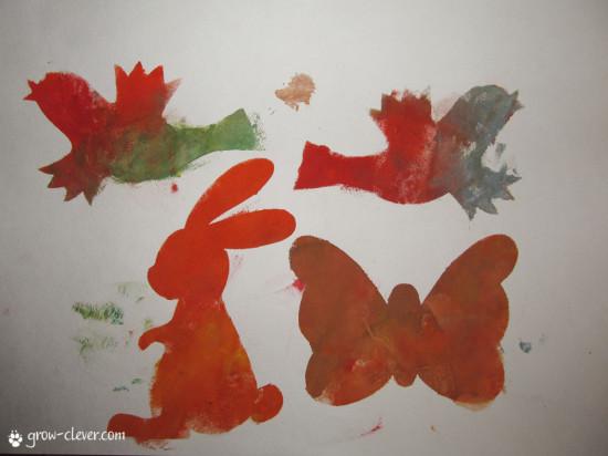 трафарет бабочки, зайца и птиц, птичек