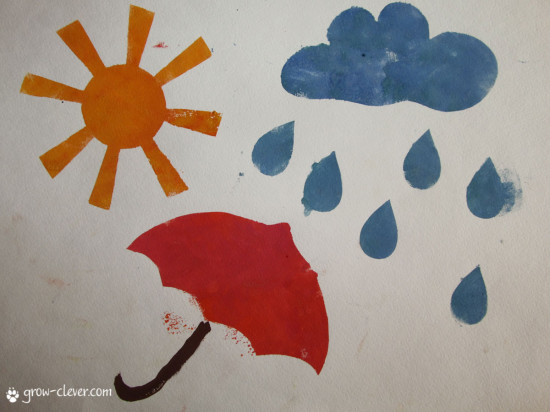 трафарет солнца, облака, дождя и зонтика