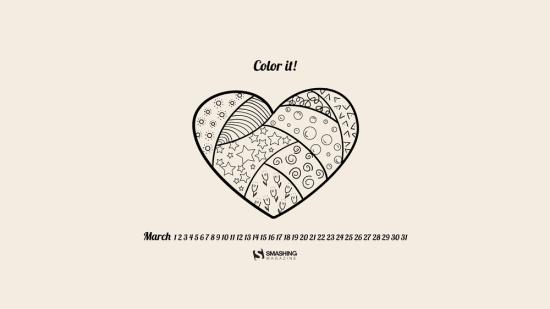 обои для рабочего стола с сердечком и календарём на март