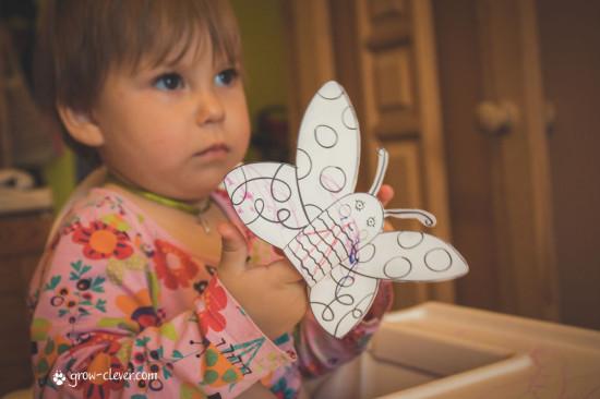 бумажные фигурки для домашнего кукольного театра - пчёлка и бабочка