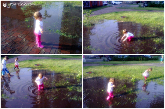 игры с детьми 1-2 года, 2-3 года, 3-4 года, дети в луже, прогулка после дождя