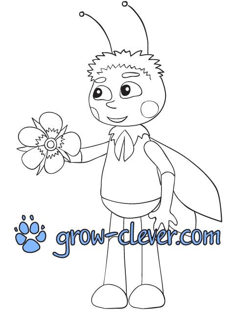 """раскраска для детей Пчелёнок (из м/ф""""Лунтик"""") скачать бесплатно"""
