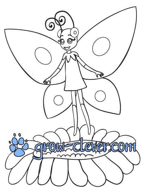 """раскраска для детей бабочка Элина (из м/ф""""Лунтик"""") скачать бесплатно"""