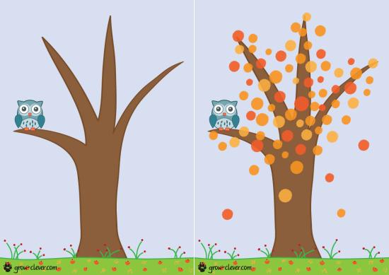 """шаблон для рисования пальчиками, аппликации и лепки с детьми """"Осеннее дерево"""""""