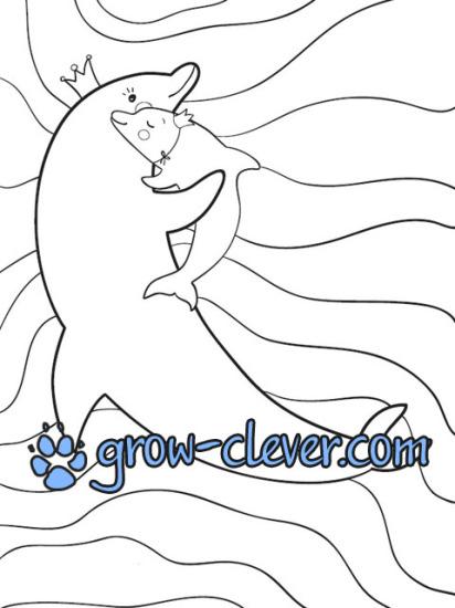 раскраска дельфин, морские животные, лето, море, рыбы