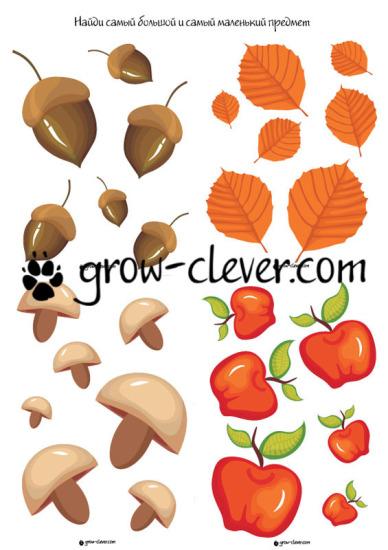 Осенние игры и задания для детей с грибами, яблоками, желудями и листьями