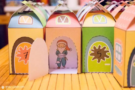 адвент-календарь своими руками, бумажные домики к новому году, новогодние персонажи из бумаги, распечатать