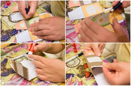 адвент-календарь своими руками, бумажные домики к новому году