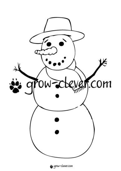 Раскраска снеговик, игры для детей на тему зима, новый год, рождество, развивающие задания, шаблоны для поделок
