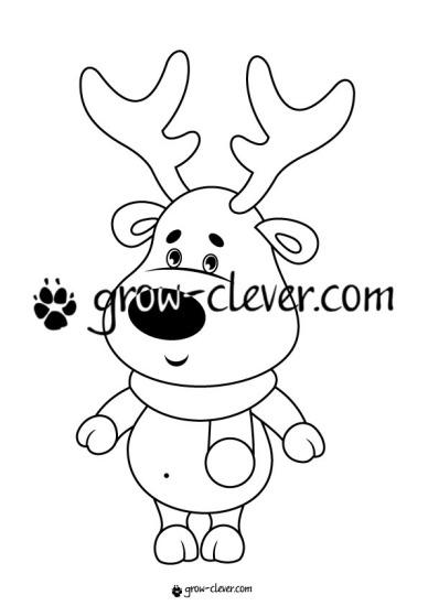 Раскраска олень, игры для детей на тему зима, новый год, рождество, развивающие задания, шаблоны для поделок
