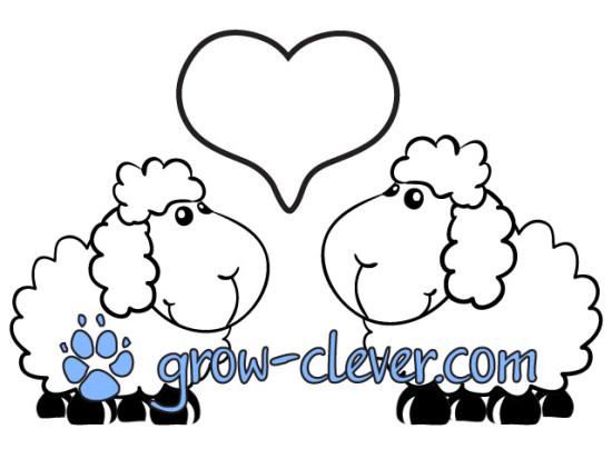 Раскраска овечки, барашек, овца, сердечко