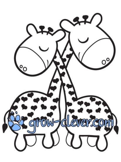 раскраска жирафы, жирафики
