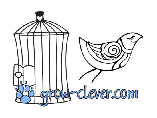 Раскраска птица и клетка для детей, картинка весна, раскраски для взрослых