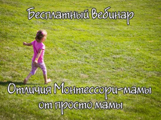 """Бесплатный вебинар """"Отличия Монтессори-мамы от просто мамы"""""""