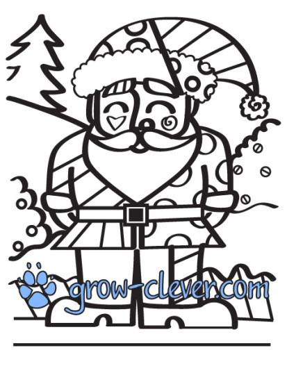 раскраски по картинам Ромеро Бритто, новогодние раскраски, Santa Claus, Санта Клаус, Дед Мороз