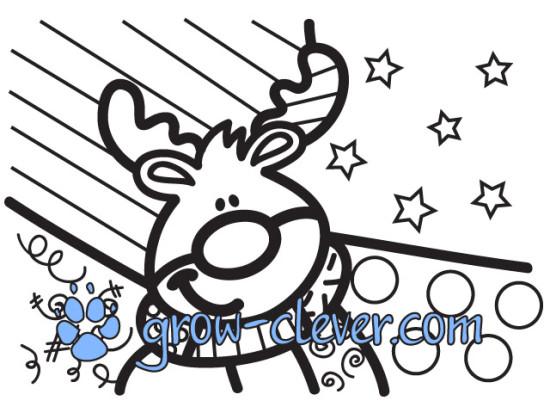 раскраски по картинам Ромеро Бритто, новогодние раскраски, олень рудольф, deer