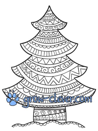 раскраска новогодняя ёлка с узорами для детей и взрослых