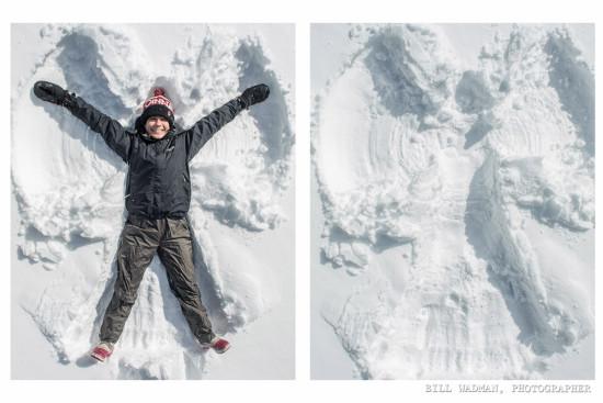 делаем ангела на снегу, как сделать ангела на снегу, снежный ангел