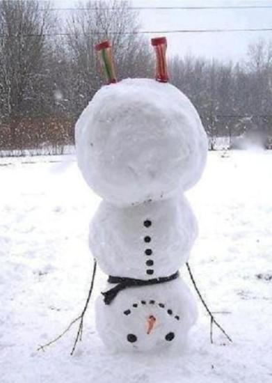 снеговик вверх тормашками, как лепить снеговика, необычный снеговик