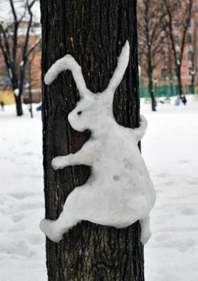 рисование снегом, заяц на дереве, игры во время зимних прогулок
