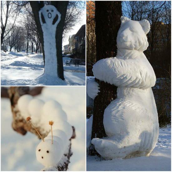 рисование снегом, фигурки на дереве, игры во время зимних прогулок