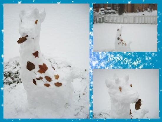 снежный жираф, фигурки из снега