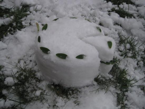 торт из снега, игры на улице в зимнее время