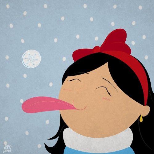 ребёнок пробует снег на вкус, ребёнок есть снег