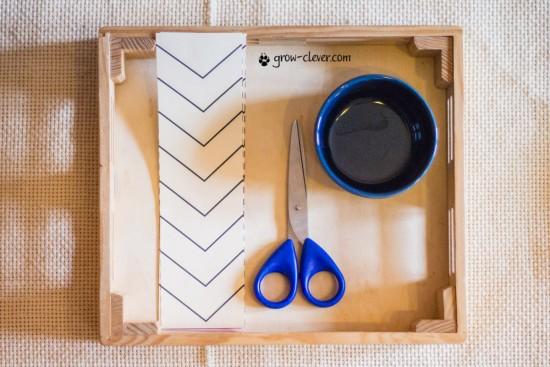 рабочие листы по методике Монтессори, шаблоны для Монтессори занятий, учимся работы ножницами