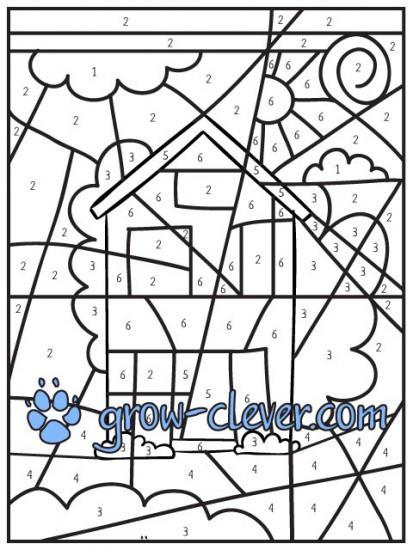 картинка раскраска по номерам рисунок домик