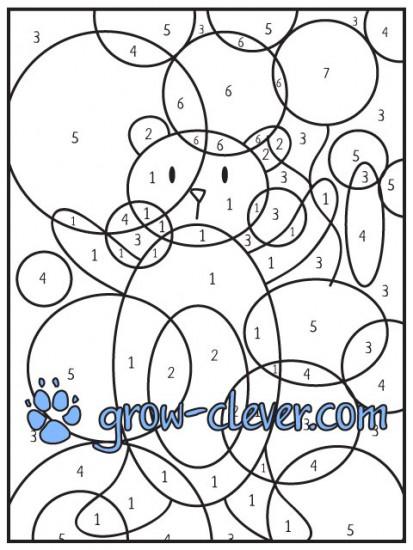 картинка раскраска по номерам рисунок мишка