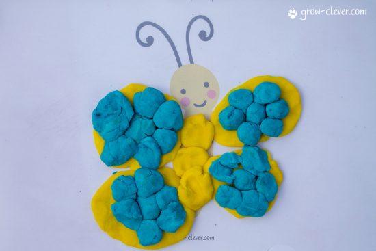 лепим бабочку, шаблоны для лепки, игры с детьми летом, творчество с детьми летом