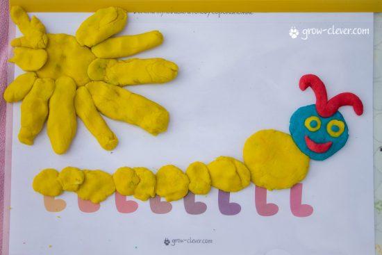 лепим сороконожку, шаблоны для лепки, игры с детьми летом, творчество с детьми летом