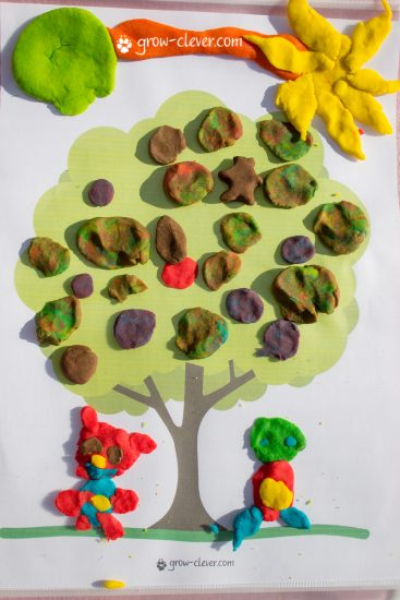лепим дерево, шаблоны для лепки, игры с детьми летом, творчество с детьми летом